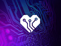 Heartronic technology innovation technique illustration logotipe peru brand branding logo