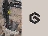 G Excavator miner engineer machine building builder construction typography letter anagram logotipe logo letter logo g logo letter g