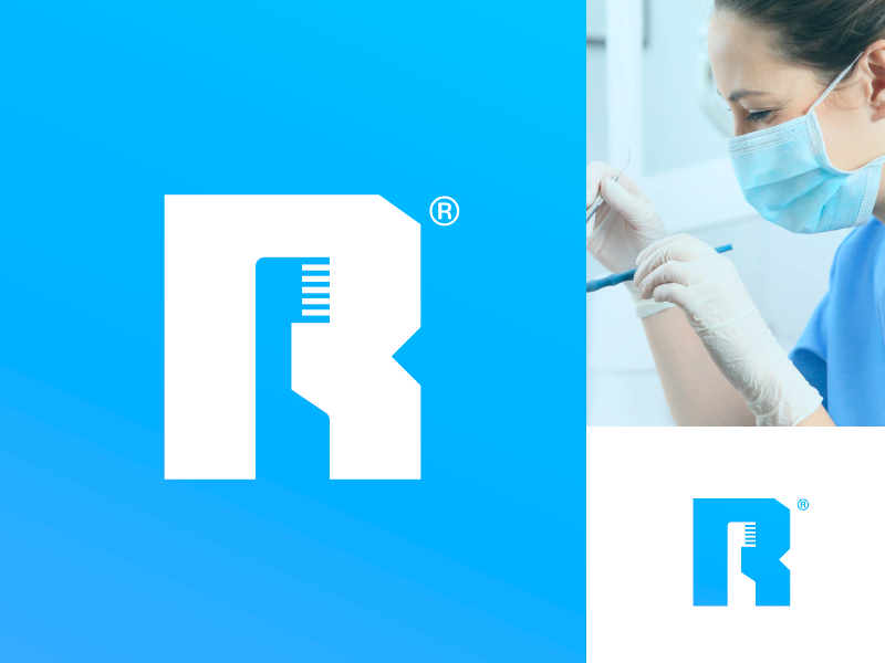 R Dent - Logo create logo creative clinics dental clinic toothbrush anagram typography logo logotipe branding clinic dental logo logotipo r logo brand peru r letter dental care dental dent