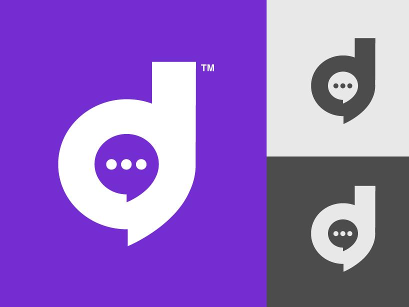 Digitalk logo comunicaction talking talk icon vector letter minimal designers typography letter d illustration brand branding peru marketing digital logotipe purple social media logo