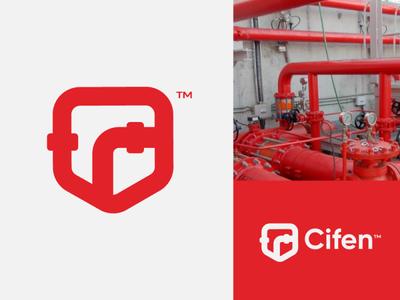 Cifen faro red fire pipeline illustration logotipe logo brand peru branding