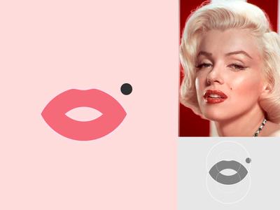 Monroe brand identity app icon app abastract logo abstract lips anagram pink design logotipe brand logo minimal beauty marilyn monroe marilyn monroe