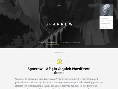 Sparrow wordpress clean wordpress theme heading author menu blog sticky search avatar big image