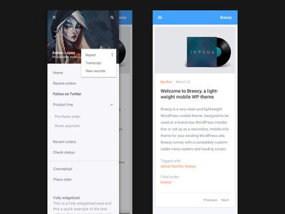 Breezy mobile touch mobile menu search menu mobile clean android mobile theme wordpress theme iphone ios
