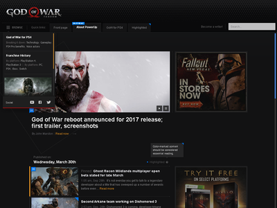 PowerUp video game theme header tabs dropdown menu news front page blog dark video game gaming