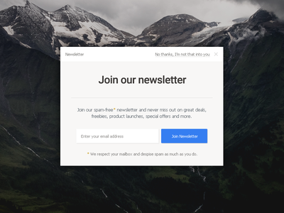 Newsletter signup light clean button form mailing list newsletter