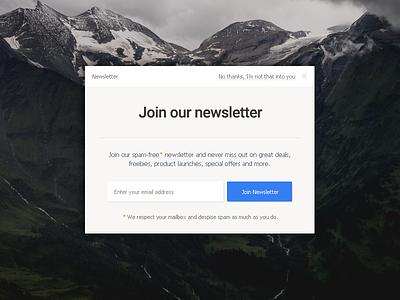 Newsletter signup light clean button form mailing list newsletter