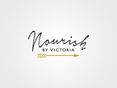 Nourish gold black yoga handwritten arrow logo