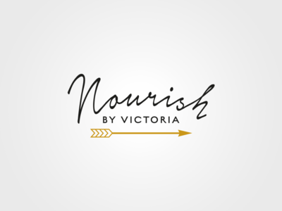 Nourish gold black yoga handwritten arrow logo