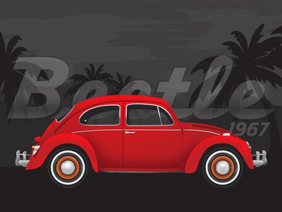 VW Beetle Illustration red beetle illustration vw