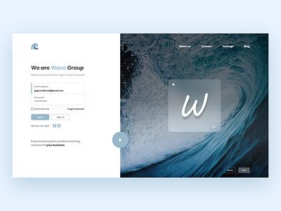 Wave login form login design login screen login page user login website design clean murjikneli gagi webdesign web ux design ui