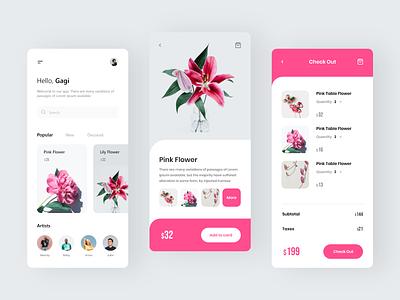 Flowers market design clean mobile app branding mobile ui mobile ux design ui