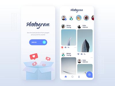 Photogram App Design app mobile app design mobile design mobile app mobile ui mobile clean design ux ui