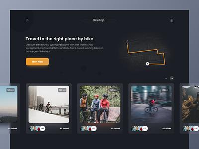 Bike Travel Web design dark glass webdesign web gagi clean design ux ui
