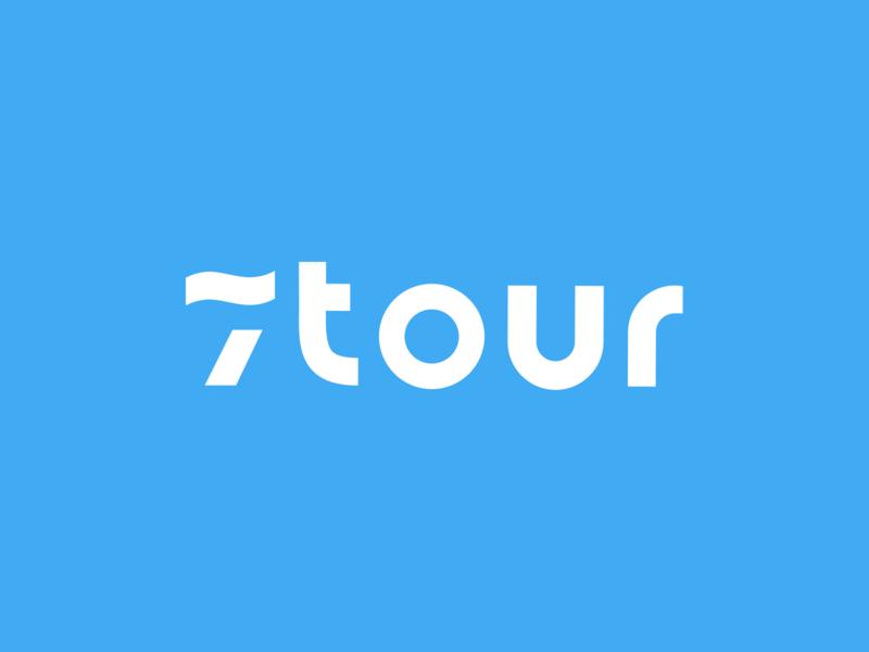 7tour logo blue wave sea ocean travel leisure graphic design branding identity logo