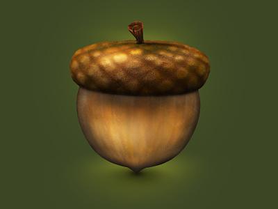 Acorn 3Dicon harvest nature stock forest acorn icondesigner icondesign illustration icon 3dicon 3d