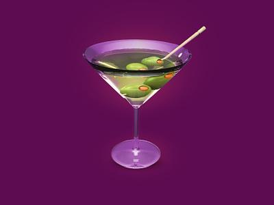 Martini 3Dicon alchohol party glass coctail drinks bar olive martini design icondesigner icondesign illustration icon 3dicon 3d