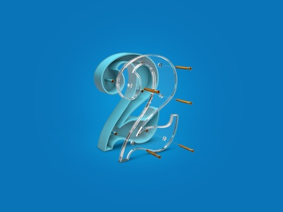 Number 2 3Dicon glass two numbers icondesigner icondesign illustration icon 3dicon 3d