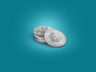 Five Silver Coins 3Dicon five coins silver silvercoin icondesigner icondesign illustration icon 3dicon 3d