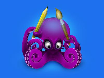 Octopus art icon pencilicon brushicon brush articon octopus icondesigner icondesign illustration icon