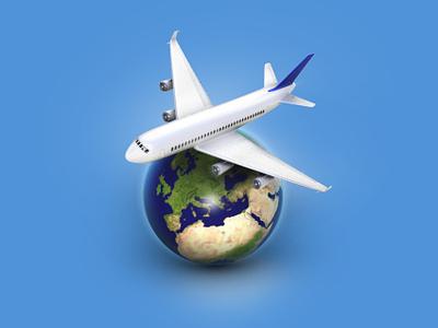 Airline Tranfer 3Dicon globus earth plane travelicon travel fly icondesigner icondesign illustration 3dicon 3d icon
