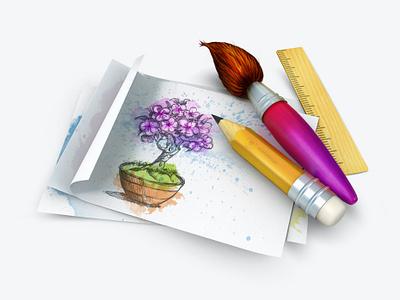 Illustration 3Dicon rulericon watercolor drawing paper pencilicon brushicon design icondesigner icondesign illustration 3dicon 3d icon
