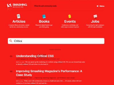 Smashing Magazine navigation and search results magazine red smashingmagazine smashing