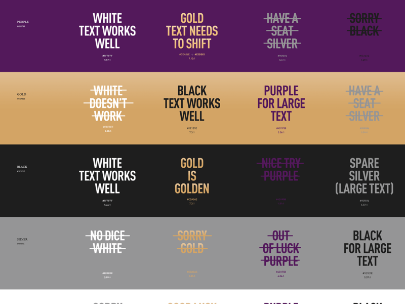 Testing color contrast ratios design systems casino hotels hospitality