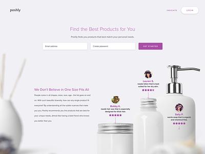 Poshly eCommerce website front end (http://poshly.com) website ux web ui design