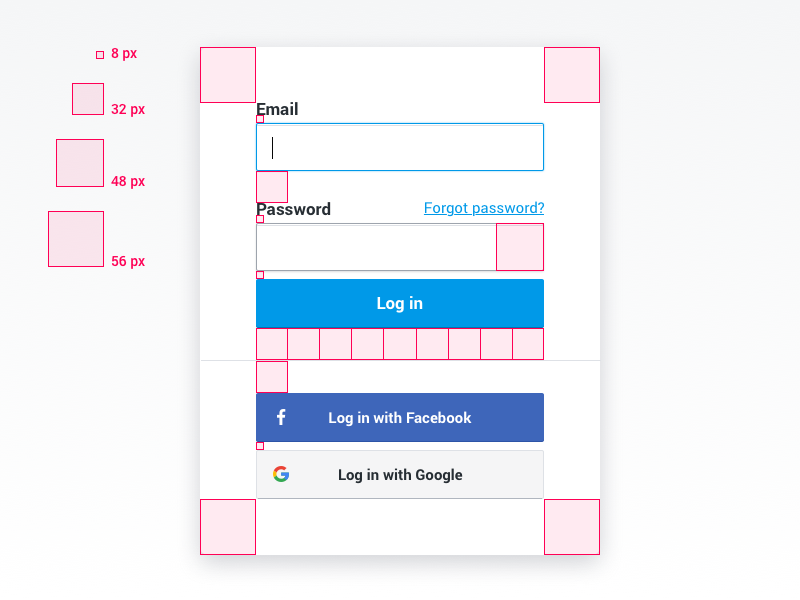 Log in Screen in 8px grid grid 8px input button form screen sign in log in