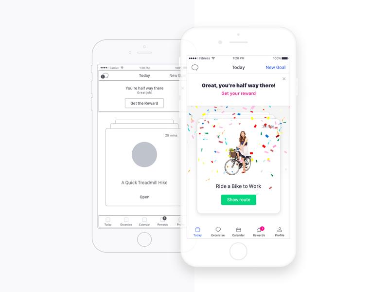 Fitness App ios reward mobile wireframe app gym fitness