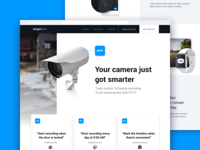 Camera Landing Page marketing site design web security page landing camera