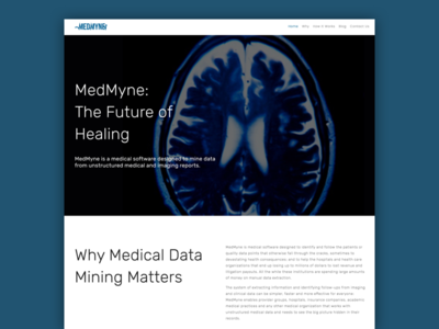 MedMyne typography parallax web design business medicine medical design website