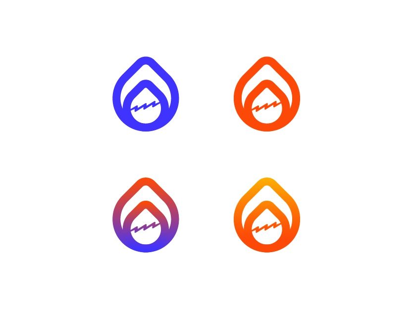 Logo concept #1 (service company) 1 redesign red blue solid color gradient color thunderbolt flame concept logos logo