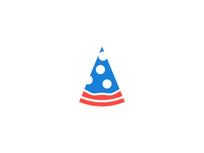 Pizza Flag logomark vector logodesign design logo white blue red flag usa pizza