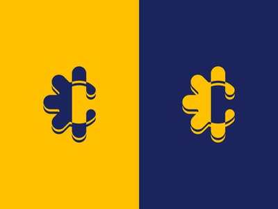 Letter C letter c c blue yellow branding type branding design logomark vector design logodesign lettermark letter logo