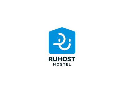 Ruhost Hostel hospitality symbol face monogram hostel russian branding letter branding design vector logomark logodesign design logo