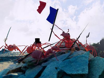 La liberte  a  la te te de la fourmilie re liberty french earth ants art blender 3d