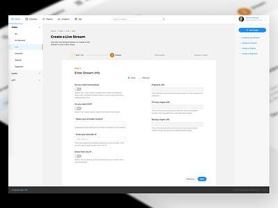 New UI for media platform, Live Wizard platform wizard media 3 column light ui