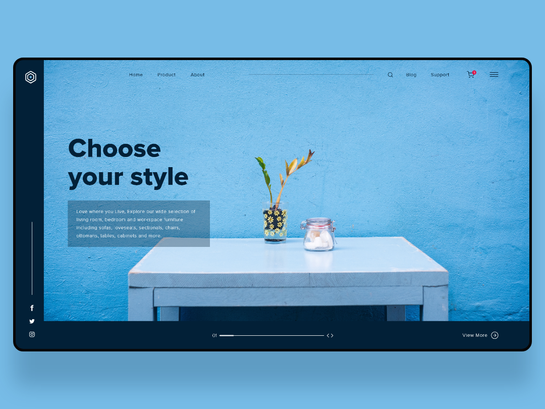 Landing Page UI furniture website aesthetic blue ui  ux web development ui webdesign web design web app website