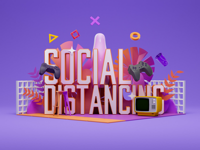 Social Distancing render art direction tv playstation game motion graphics blender stay home work from home