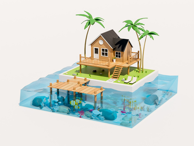 Private Island graphic design blender low poly sea underwater visual illustration art direction