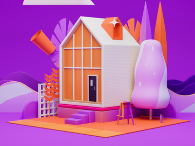 Tiny House art direction low poly home house illustration