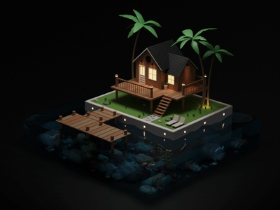 Night in Private Island lowpoly house blender 3dmodeling isometric illustration artdirection blender 3d low poly