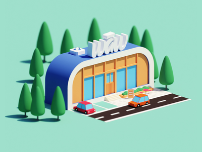 Waw Store Illustration design art direction low poly blender animation isometric illustration store