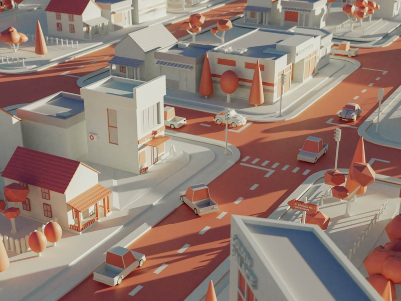 Low Poly Cityscape concept branding transportation art direction city illustration blender 3d low poly