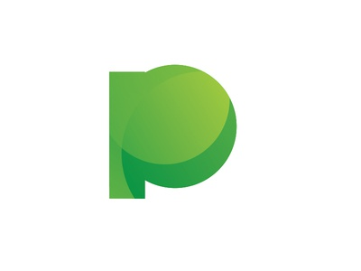 P Symbol green letter stamp logo gradient mark