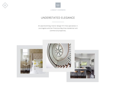 Lindsay Chambers Website Design monochromatic elegant whitespace modern minimal clean photography animation parallax ux ui web design