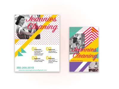 Promotional Flyer & Rack Card for Cleaning Business  branding marketing flyer promotion vintage geometric bold colorful bright cleaning