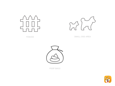 Dog Park Icons for Park Bark bag poop fence minimal thin park dog icons
